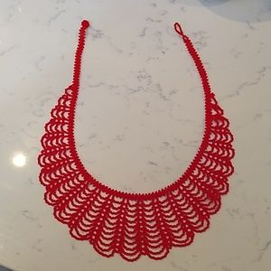 Huichol Styled Hand Beaded Red Necklace